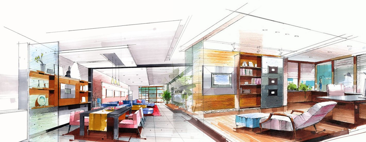 Diploma and professional course provider st hua private - Hand drafting for interior design ...
